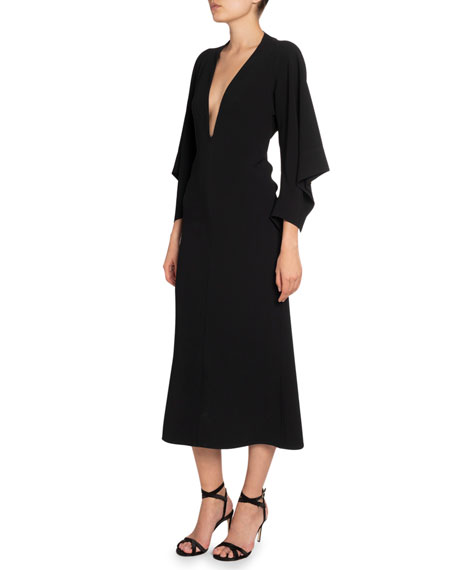 Victoria Beckham Crepe Deep-V Draped-Sleeve Dress