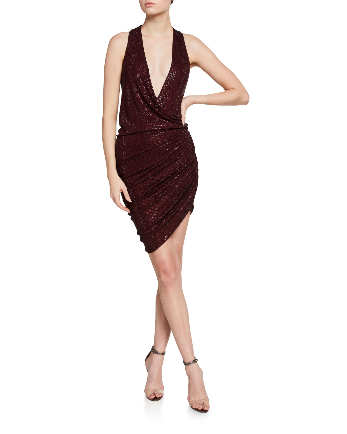 Alexandre Vauthier Ruched Micro Crystal-Embellished Jersey Dress
