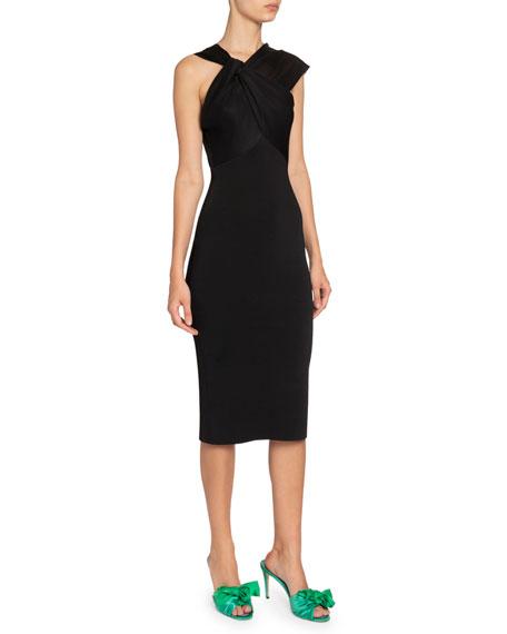 Victoria Beckham Asymmetric Twisted-Neck Dress