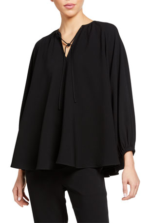 Co Japanese Crepe Tie-Neck Top