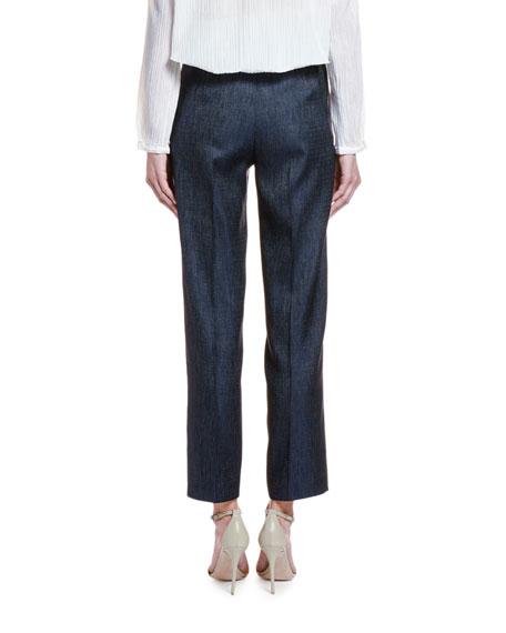 Giorgio Armani Wool-Silk Chambray Straight-Leg Trousers