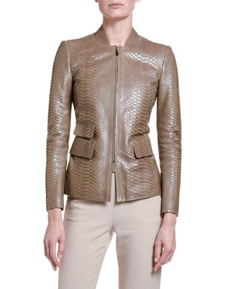 Giorgio Armani Python Leather Zip-Front Jacket