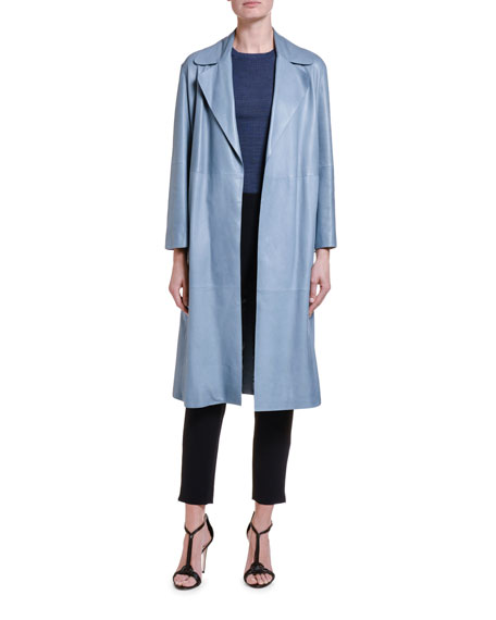 Giorgio Armani Goat Leather Belted Trench Coat