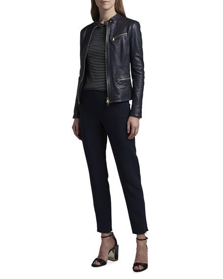 Giorgio Armani Leather Zip-Front Jacket