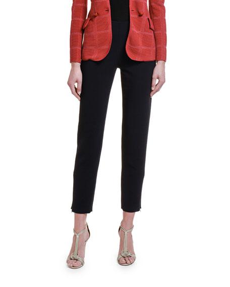 Giorgio Armani Stretch-Wool Slim-Leg Pants w/ Zip Cuffs