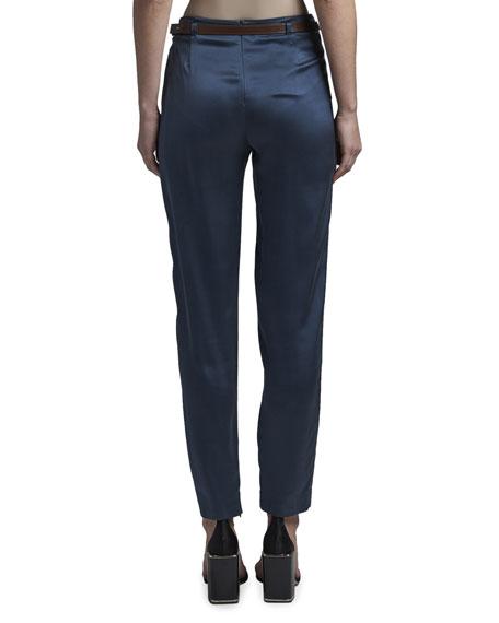 Giorgio Armani Satin Wrap-Waist Slim-Leg Pants