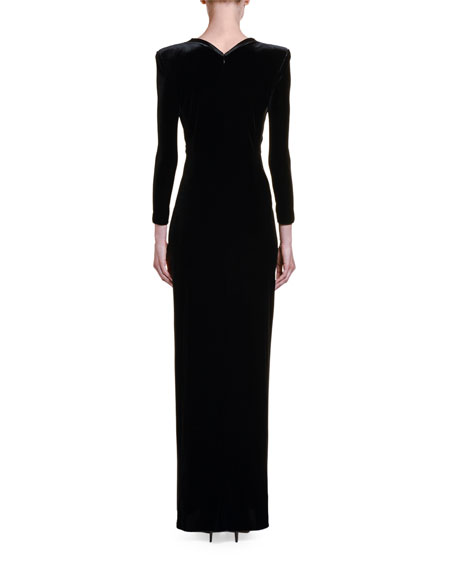 Image 2 of 2: Giorgio Armani Satin-Trim Velvet V-Neck Gown