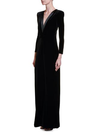 Giorgio Armani Satin-Trim Velvet V-Neck Gown