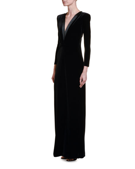 Image 1 of 2: Giorgio Armani Satin-Trim Velvet V-Neck Gown