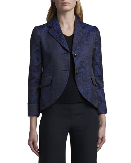 Giorgio Armani Silk-Print Jacquard Two-Button Jacket