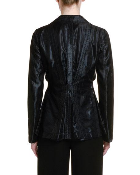 Giorgio Armani Pleated Mesh Tortoiseshell Button Jacket