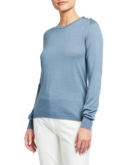 Maxmara Caraibi Silk-Cashmere Button-Shoulder Sweater