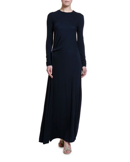 Giorgio Armani Lightweight Ruched Jersey Long-Sleeve Gown
