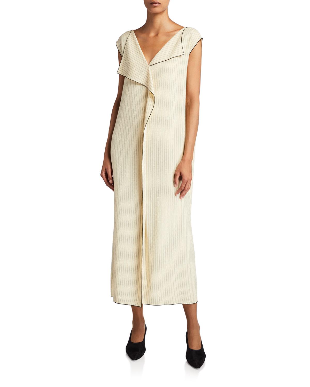 THE ROW Malka Striped Twill Dress