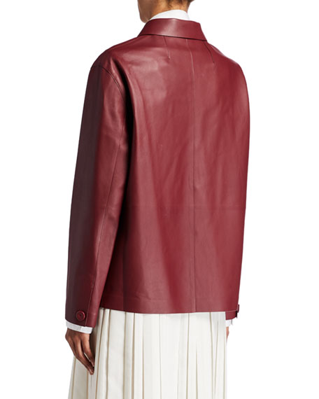 THE ROW Frim Leather Button-Front Jacket