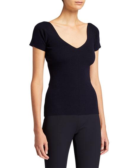THE ROW Tain Merino-Cashmere Short-Sleeve Top