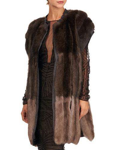 Colorblock Sable Fur Vest