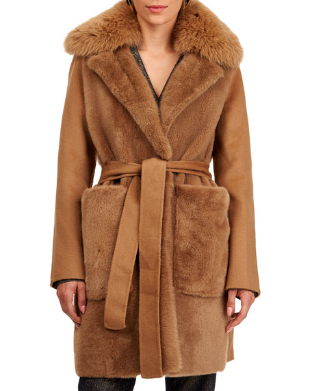 Yves Salomon Shearling Lamb Stroller Coat w/ Fur And Cashmere