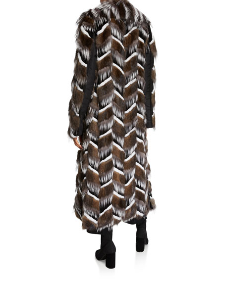 Burnett New York Sable, Mink And Fox Intarsia Coat w/ Belt