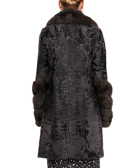 Maurizio Braschi Karakul Lamb Stroller Coat with Sable Notch Collar