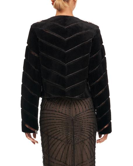Burnett New York Mink Jacket w/ Sheared Mink On Tulle Sleeves