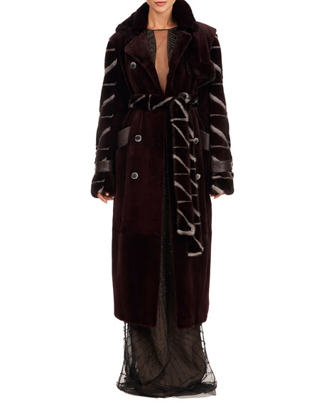 Burnett New York Sheared Mink Fur Coat w/ Intarsia Sleeves  & Self Belt