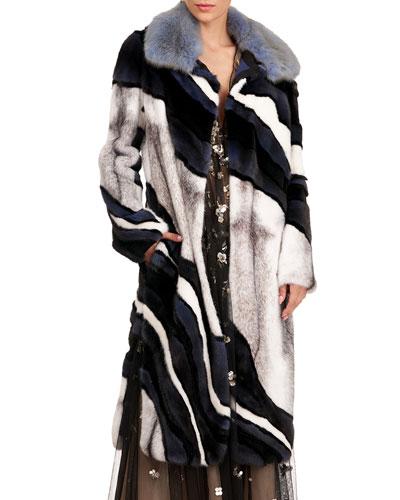 Short Wave Intarsia Mink Fur Coat