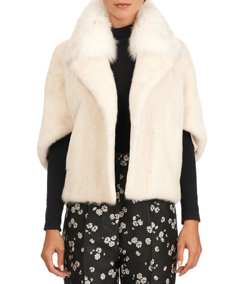 Yves Salomon Mink Fur Jacket With Fox Collar
