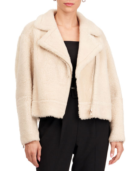 Yves Salomon Shearling Lamb Moto Jacket
