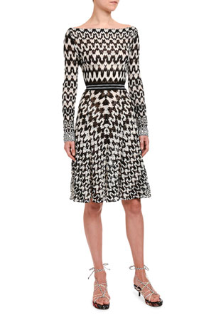 Missoni Optical Chevron Knit Long-Sleeve Dress