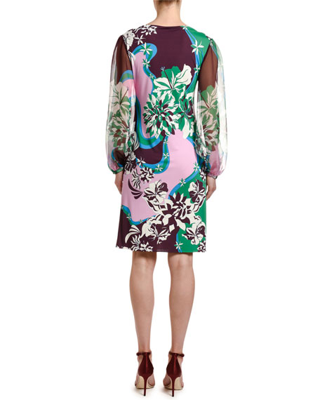 Emilio Pucci Abstract Floral Print Chiffon Full-Sleeve Dress
