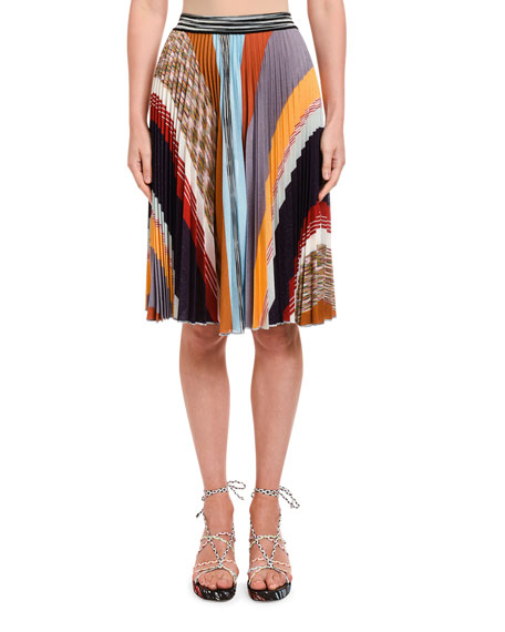 Missoni Patchwork Plisse Knee-Length Skirt