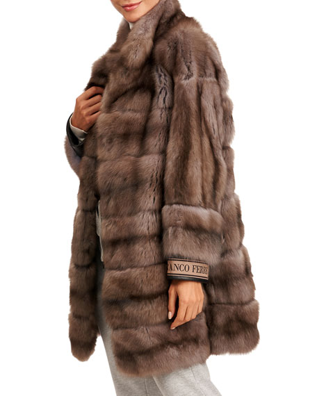 Image 4 of 4: Gianfranco Ferre Horizontal Russian Sable Fur Stroller