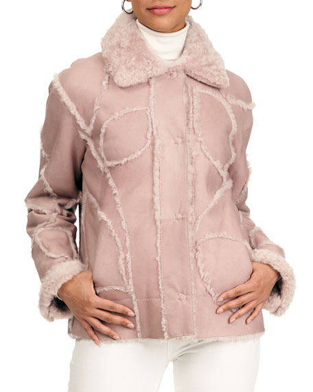 Christia Shearling Lamb Fur Intarsia Jacket