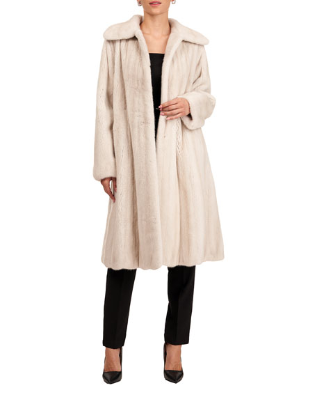 Oscar de la Renta Short Mink Fur Coat with Silk Twill Lining
