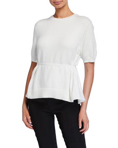 Scarf-Back Short-Sleeve Sweater