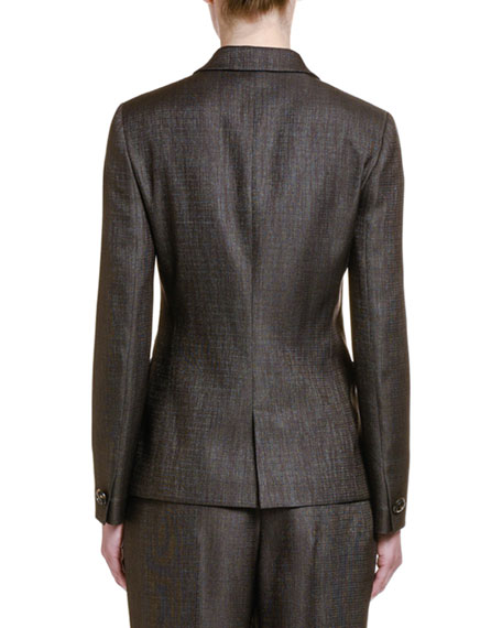 Image 2 of 3: Wool-Silk One-Button Jacket