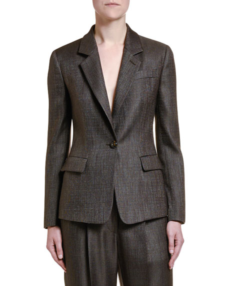 Image 1 of 3: Wool-Silk One-Button Jacket