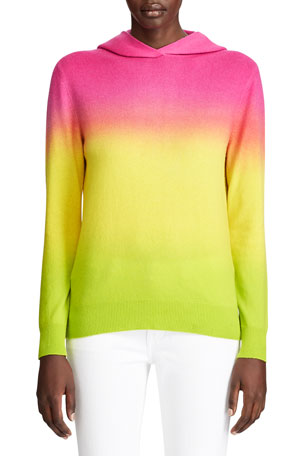 Ralph Lauren Collection Ombre Tie-Dye Silk Hooded Sweater