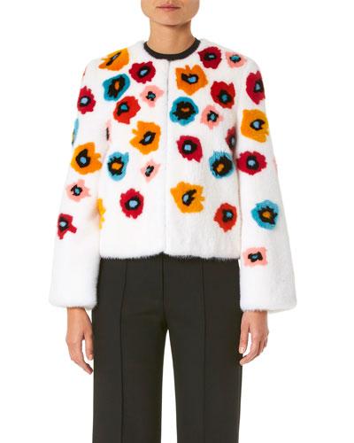Mink-Fur Flower Intarsia Jacket