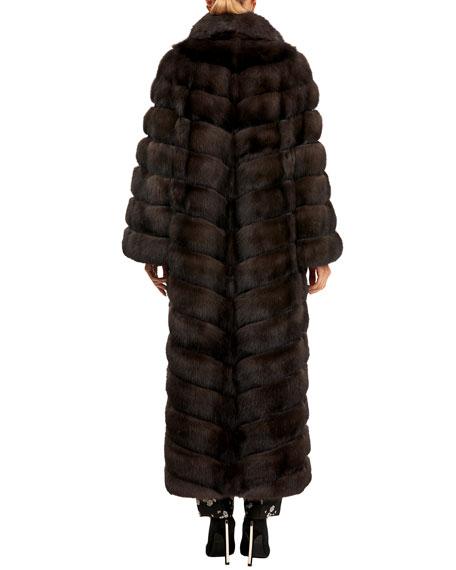 Maurizio Braschi Sable Fur Chevron Coat with Horizontal Sleeves