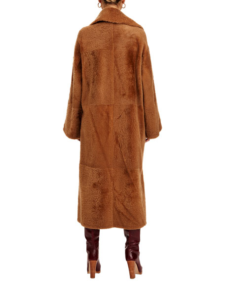 Christia Reversible Shearling Lamb Coat with Belt