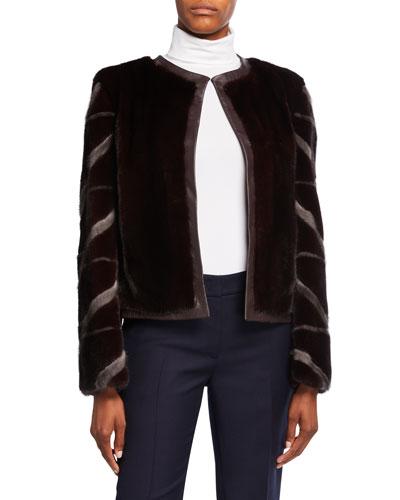 Collarless Mink Fur Intarsia Jacket