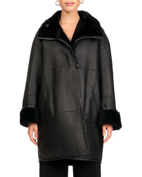 Christia Reversible Shearling Lamb Fur Stroller Coat