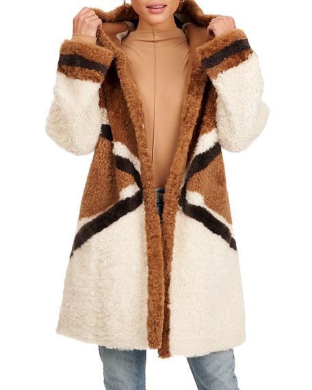 Christia Reversible Shearling Lamb Fur Parka Coat