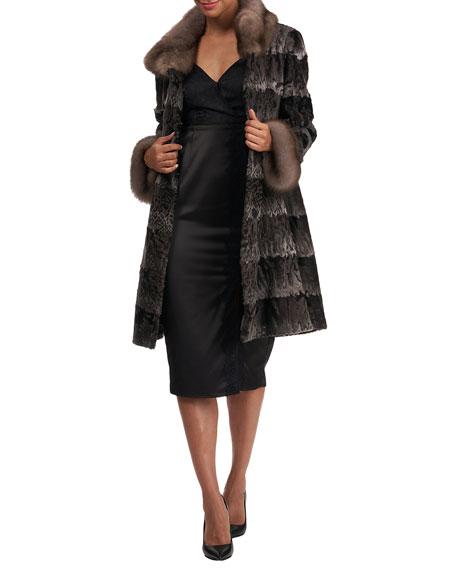 Zac Posen Lamb Fur Stroller Coat w/ Sable Collar And Cuffs