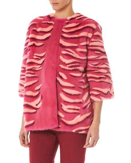 Carolina Herrera Striped Intarsia Mink Fur Jacket
