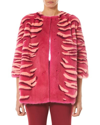Striped Intarsia Mink Fur Jacket