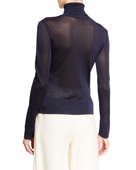 Image 2 of 2: Altuzarra Lexia Shimmer-Knit Turtleneck Sweater