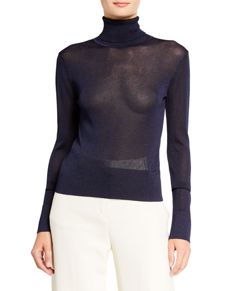 Image 1 of 2: Altuzarra Lexia Shimmer-Knit Turtleneck Sweater